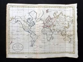 Guthrie 1788 Antique Hand Col Map. Chart of the World on Mercators Projection